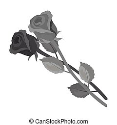 Two roses icon in monochrome style isolated on white background. Funeral ceremony symbol stock vector illustration.