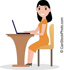 Vector cartoon woman working at his laptop