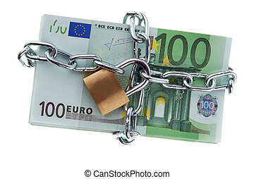 Euro bank notes with a lock and chain. Money stack for...