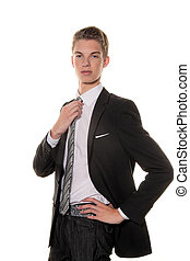 Young man with business attire in the studio