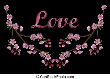 Embroidery branch of pink cherry blossoms love black background