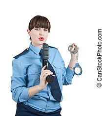 woman in uniform with gun and manacles over white