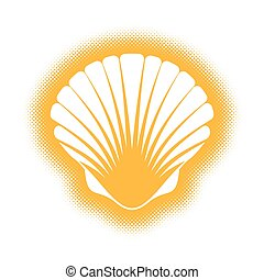 Vector scallop seashell silhouette icon - Vector single...