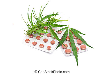 cannabis, feuille, tablettes