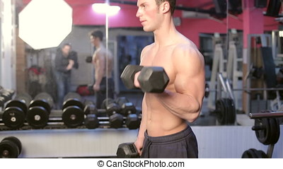 Lifting Heavy Weights In The Gym. Athletic sport lifestyle