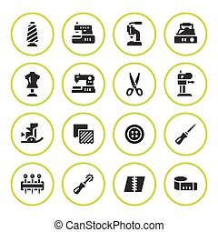 Set round icons of sewing isolated on white. Vector...