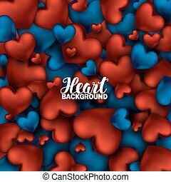 Red and blue heart. Valentines day card. Love romantic 3D...