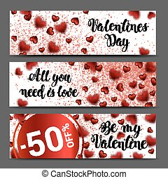 background banner set. Sale header or banner set with discount offer for Happy Valentines Day celebration. Vector Illustration Abstract
