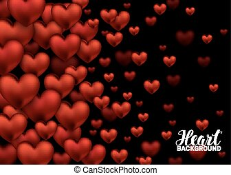 Red Love Romantic Hearts on Abstract Love Background....