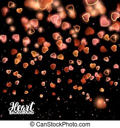 Valentines Day with Bokeh Falling Effect Hearts and...