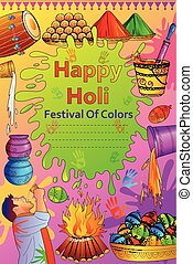 India Festival of Color Happy Holi background - vector...