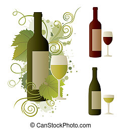vino, diseño, elemento