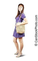 girl with handbag - Attractive young girl with handbag...