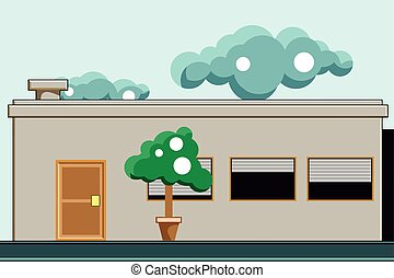 A house with trees on the front and clouds in the sky. Vector flat illustration.