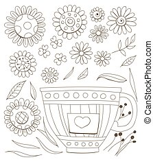 Flowers and cup set