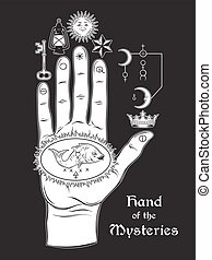 The hand of the Mysteries. The alchemical symbol of...