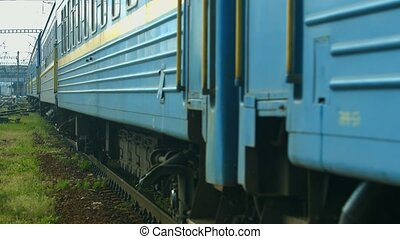 Train goes to the voyage. Movement of wagons.