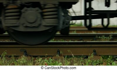 Wheels of train. - Suspension of the wagon. Wheels of train.