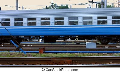 Electric train. - Electric train goes along the rails.