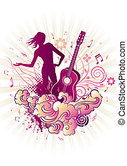 music themed design element - girl,guitar, floral background