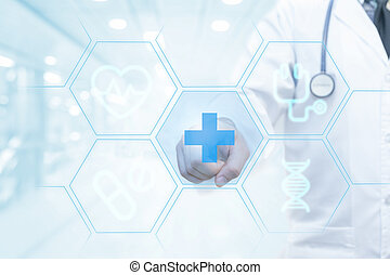 Doctor hand working on visual screen interface as...