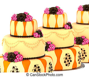 Three tier cake with 3 layer decorated chocolate rose .