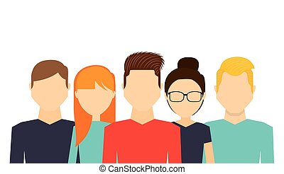 young people cartoon over white background. colorful design....