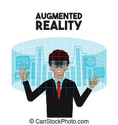 augmented reality design - man with augmented reality visor...