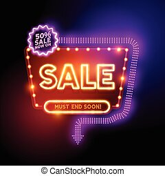 Glowing Neon Sale Sign