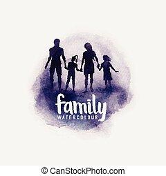 Family Watercolour Vector