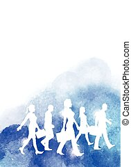 Business People Watercolour - A group of business people...