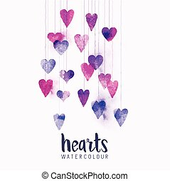 watercolour Hearts on Strings - A set of watercolour love...