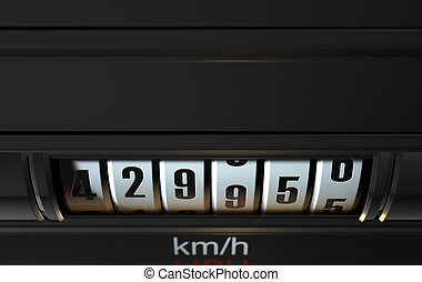 Car Odometer High - A 3D render of an analogue car odometer...