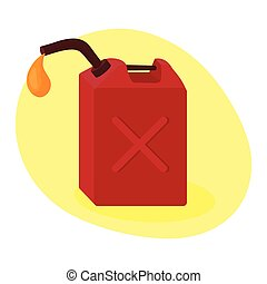 Fuel container jerrycan. Gasoline canister. Vector Illustration isolated on white.