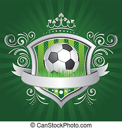 soccer and shield - soccer,shield,crown,green background