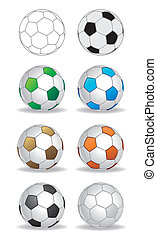 soccer ball - vector soccer ball set