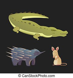 Australian animals vector crocodile, echidna and opossum...