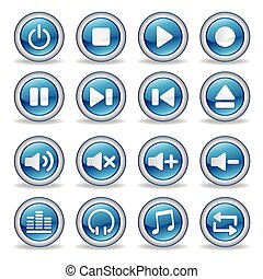 media player glossy buttons - collection of media player...