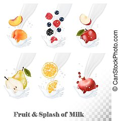 Big collection of icons of fruit and berries in a milk splash. Pear, orange, pomegranate, peach, apple, blueberry. Vector.