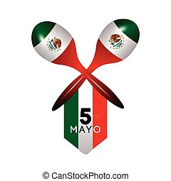 Cinco de mayo - Isolated mexican banner with a pair of...