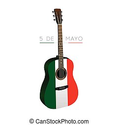 Cinco de mayo - Isolated guitar with the mexican flag, Cinco...