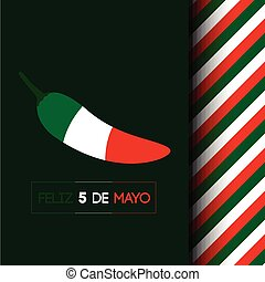 Cinco de mayo - Isolated pepper with the mexican flag, Cinco...