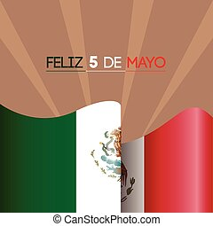 Cinco de mayo - Colored background with the mexican flag,...