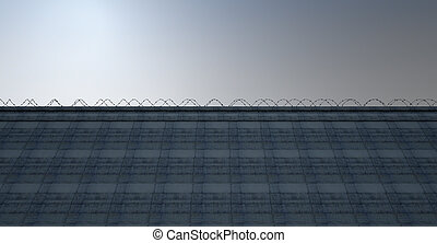 Huge High Security Wall - A 3D render of a massively high...