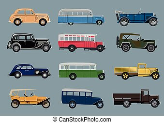Infographics set of retro cars..eps