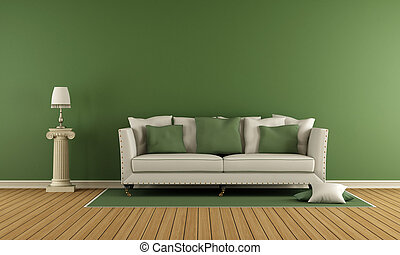 Classic living room with elegant sofa and green wall - 3d...