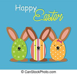 Happy easter card. Easter egg with rabbit ears.