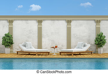 Luxury outdoor swimming pool - Outdoor swimming pool with...