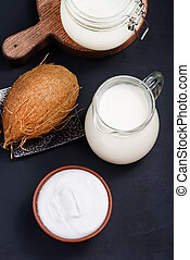 coconut produkt on the wooden table