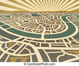 Perspective map - Editable vector illustration of a street...